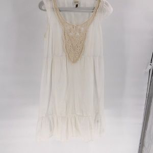 Sonoma Ivory White Cream  Lace Lined Sundress L